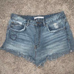 ZARA High Rise Denim Shorts